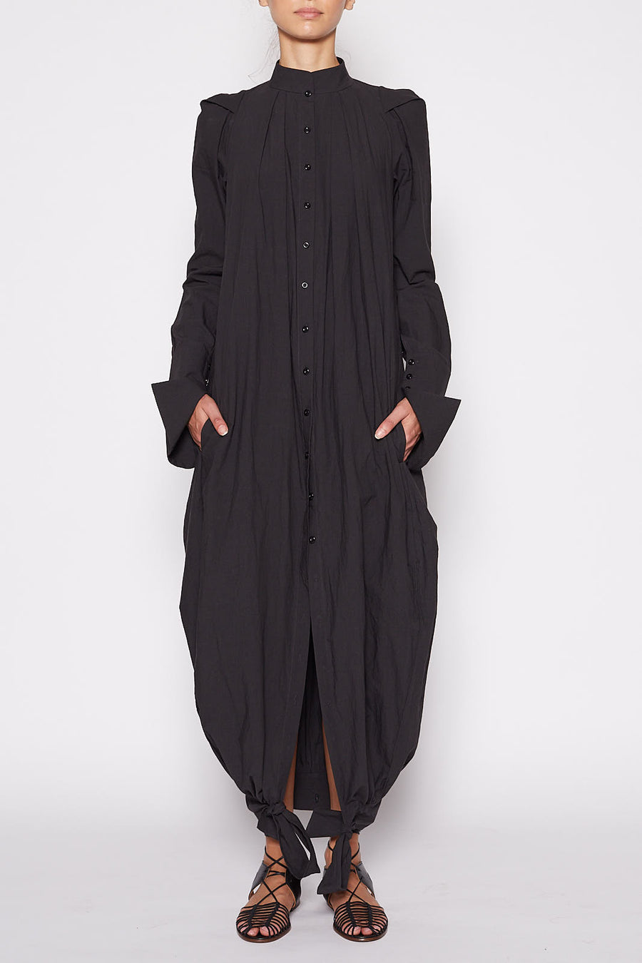 Two Way Shirt Dress - Black