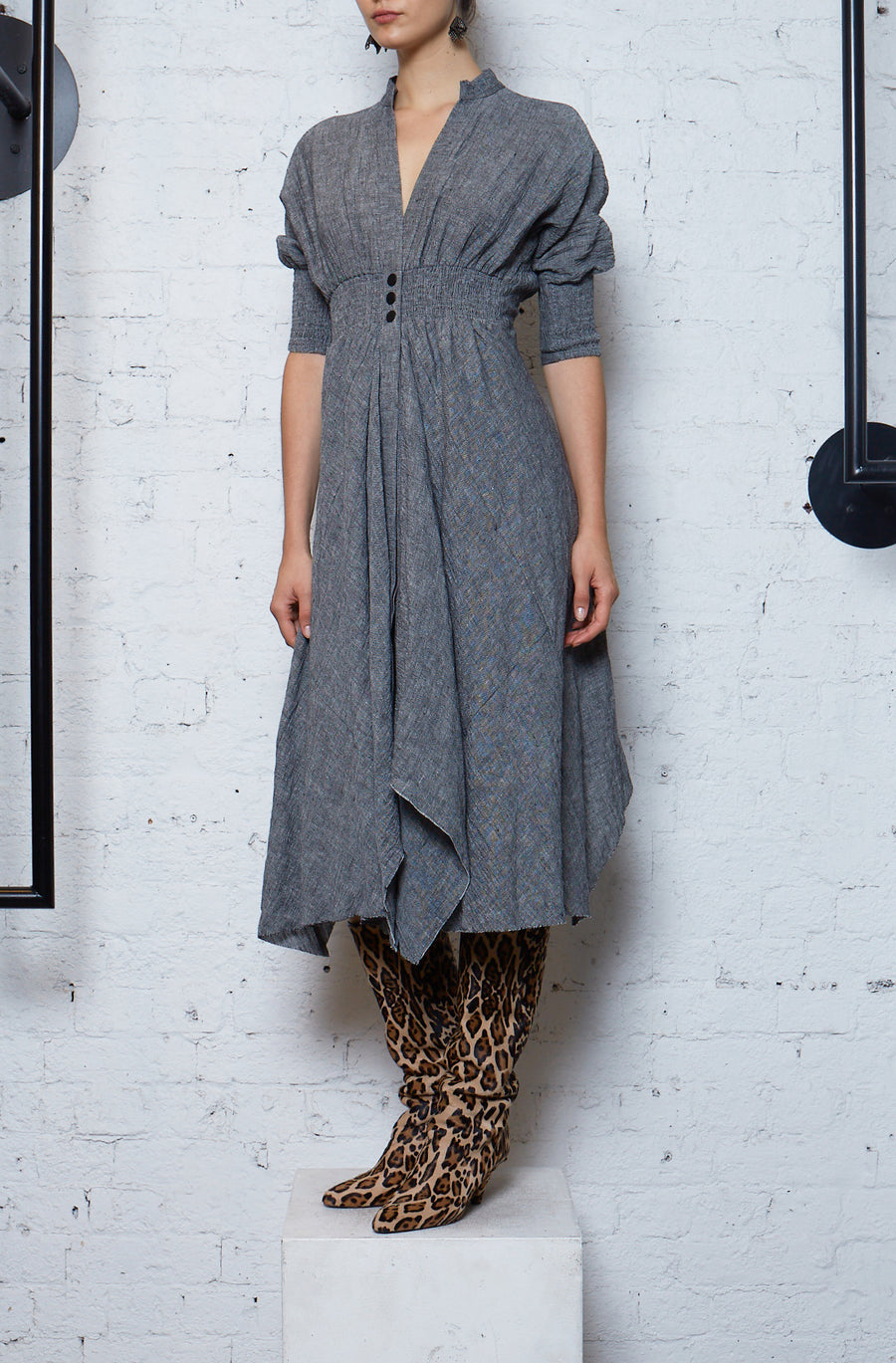 Crushed Linen Shirtdress - Black/White