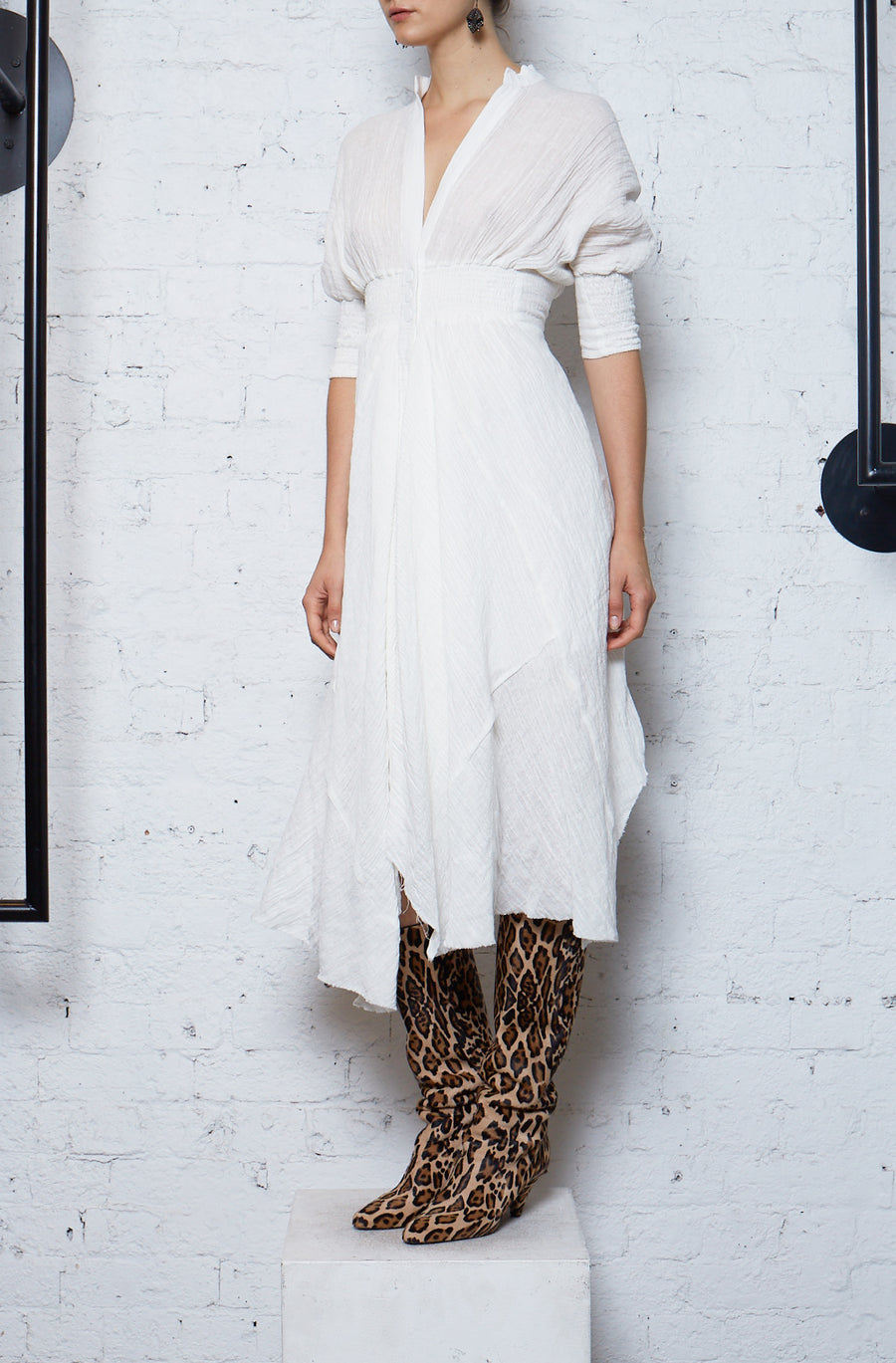 Crushed Linen Shirtdress - White