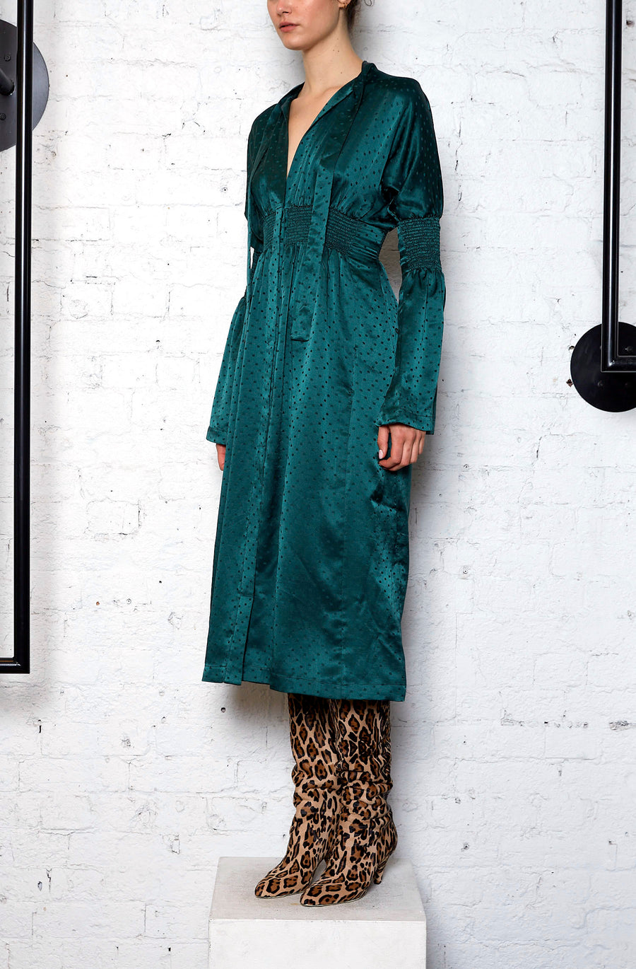 Essence Spot Shirred Dress- EMERALD