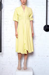 Corset Cord Linen Dress - Lemon