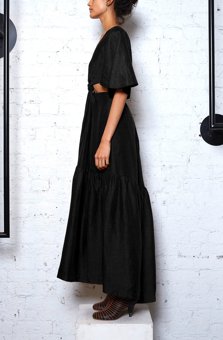 *Re-Order* Exclusive Linen Knot Dress - Black