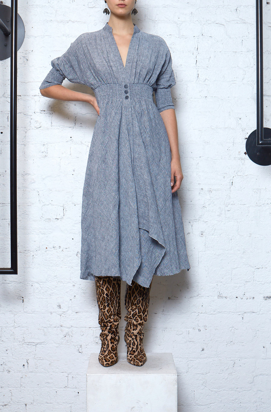 Tweed Shirt Dress - Chambray