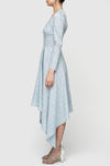 Linear V-Neck Dress - Blue