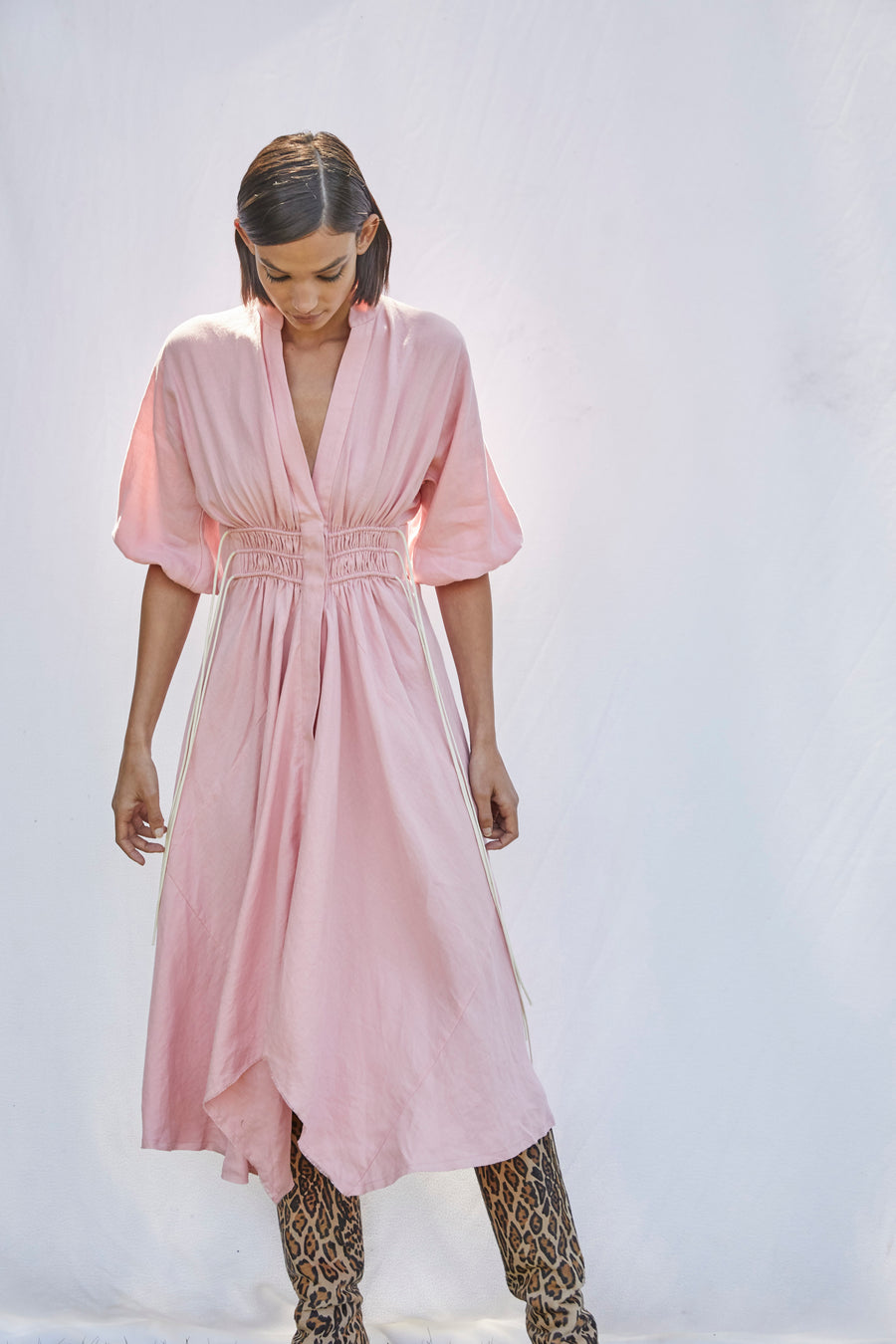 *Re-Order* Corset Cord Linen Dress - Flamingo