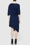 Cellular Drape Dress - Indigo