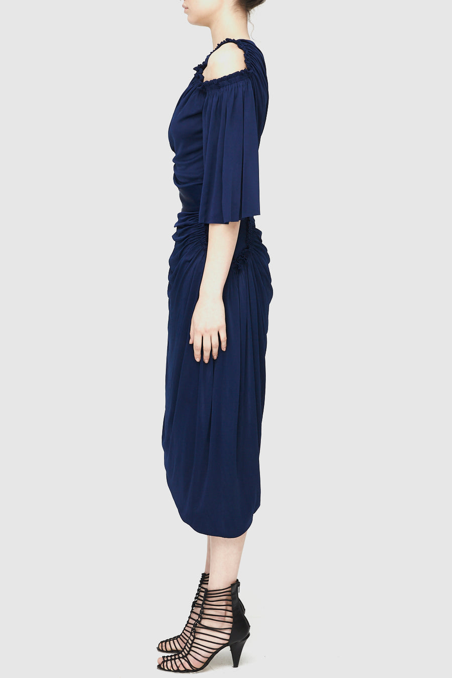 Cellular Drape Skirt - Indigo