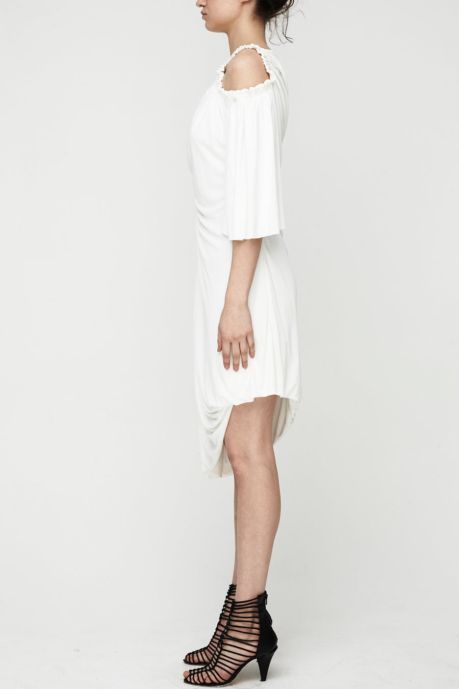 Cellular Drape Dress - White