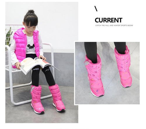 Fashion girls winter boots Waterproof Snow Boots Warm