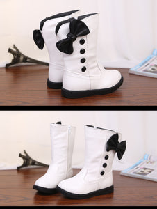 Korean bow high girls shoes