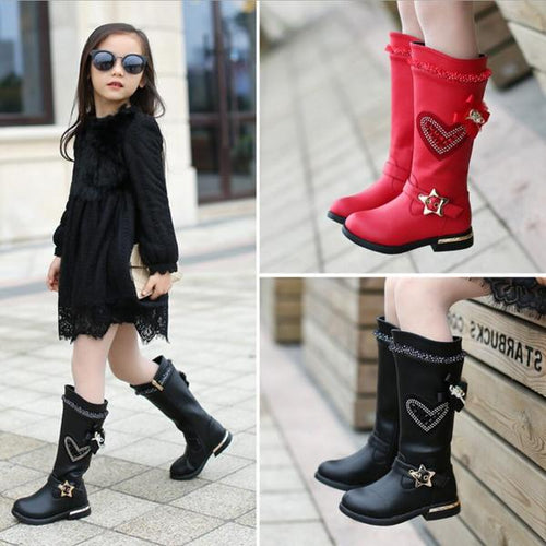 Children's Winter Boots Round High Top Leather for Girls