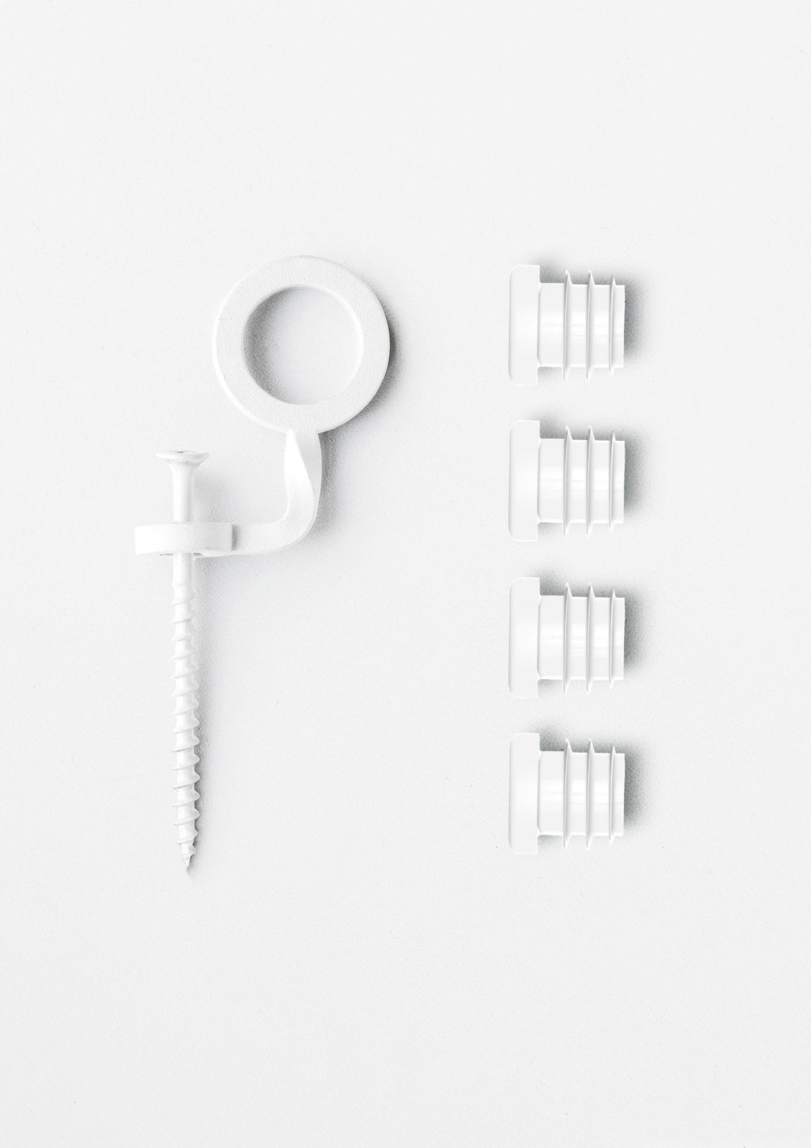 Part - End Caps And Safety Clip Set - White