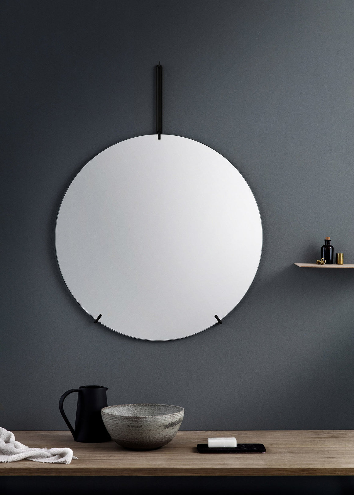 Wall Mirror - Black - 70cm Ø