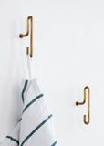 WALL HOOK - BRASS - SMALL (x2)