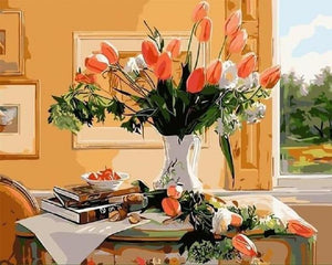 Tulips On Water By Window DIY Painting Kit - paint by numbers