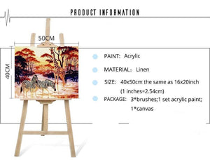 Giraffe Zebra Landscape Painting Kit - paint by numbers