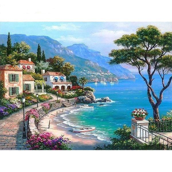 Mediterranean Sea Landscape Painting Kit - paint by numbers