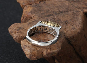 Tibetan Six Words Proberb 925 Silver Adjustable Ring - paint by numbers