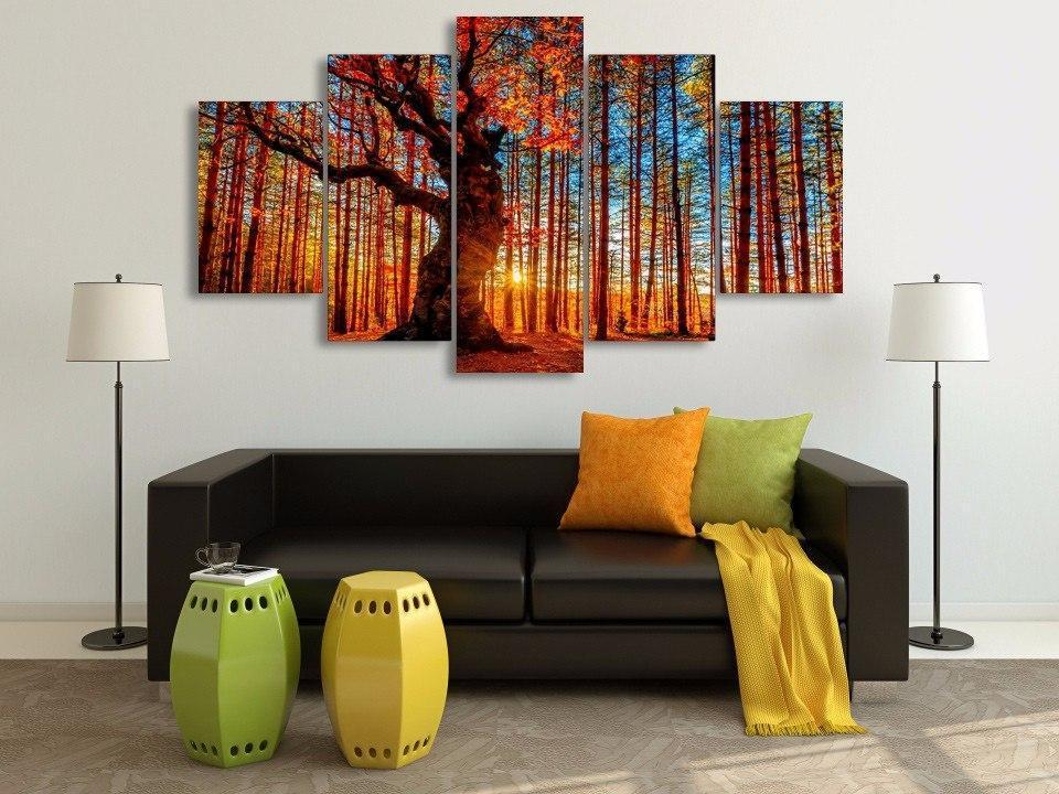 HD Forest Sky Trees Painting Canvas 5pc - paint by numbers