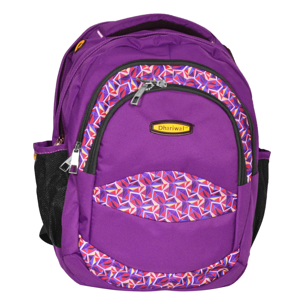 Dhariwal Multi Color Dual Compartment Unisex Printed School BackPack 39L BP-203 School Bags Dhariwal Purple