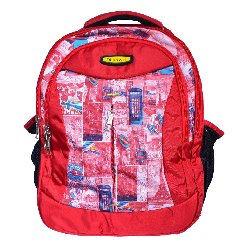Dhariwal Triple Compartment Backpack with Rain Cover 39L BP-217 School Bags Mohanlal Jain (Dhariwal Bags) Red