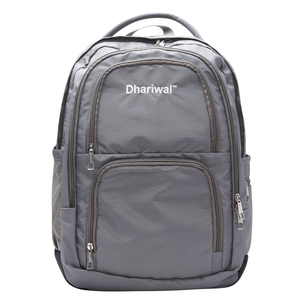 Dhariwal Unisex Dual Compartment Laptop Backpack With Back Air Flow Cushion 34L LB-105 Laptop Bags Mohanlal Jain (Dhariwal Bags) Grey