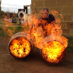 Peter Bignell charring the barrels