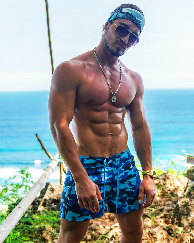 Blue Camo Swim Trunks Shorts / Board shorts Tucann