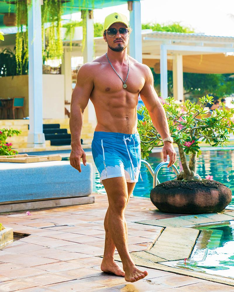 Blue Skies White Swim Trunks Shorts / Board shorts Tucann
