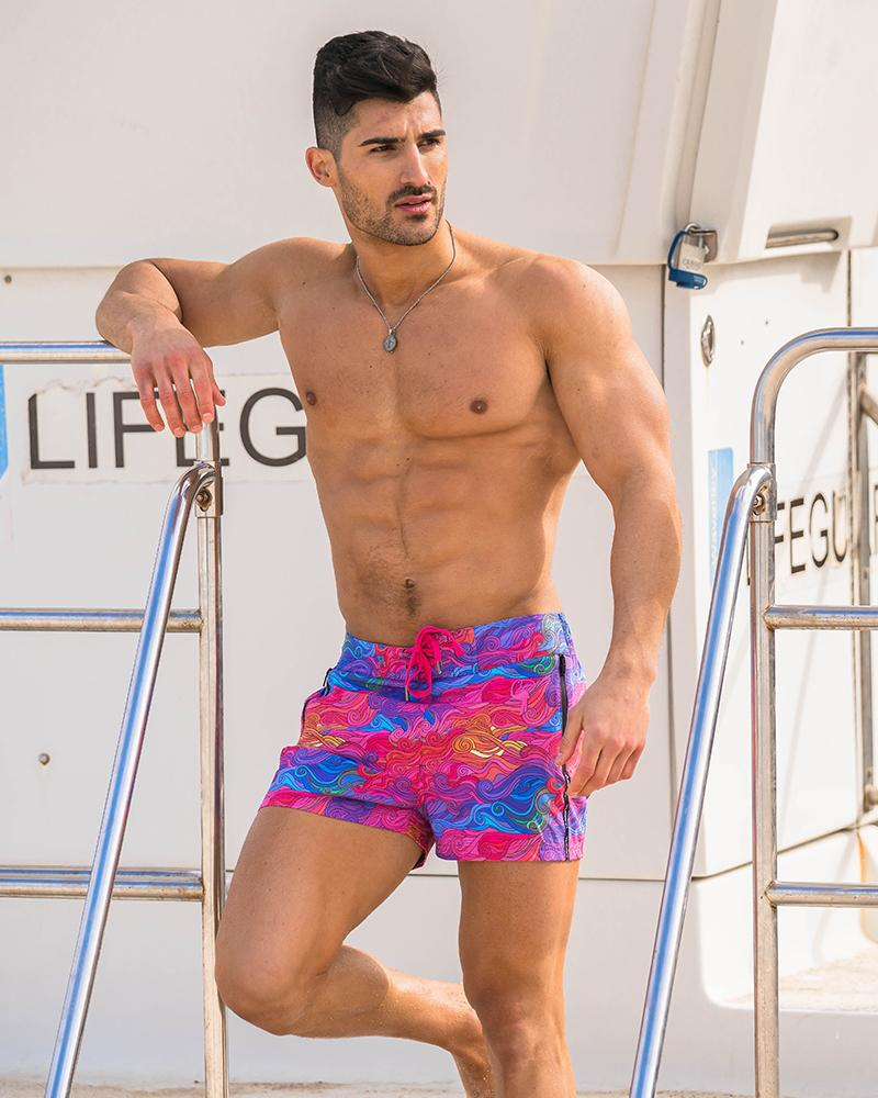Colour Swirl Pink Swim Shorts Shorts / Board shorts Tucann