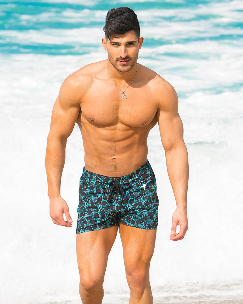 Electric Hibiscus Black Swim Shorts Shorts / Board shorts Tucann