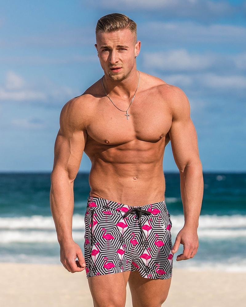 Flamingo Hectagon White Swim Shorts Shorts / Board shorts Tucann