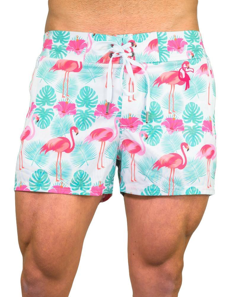 Flamingo White Swim Shorts Shorts / Board shorts Tucann