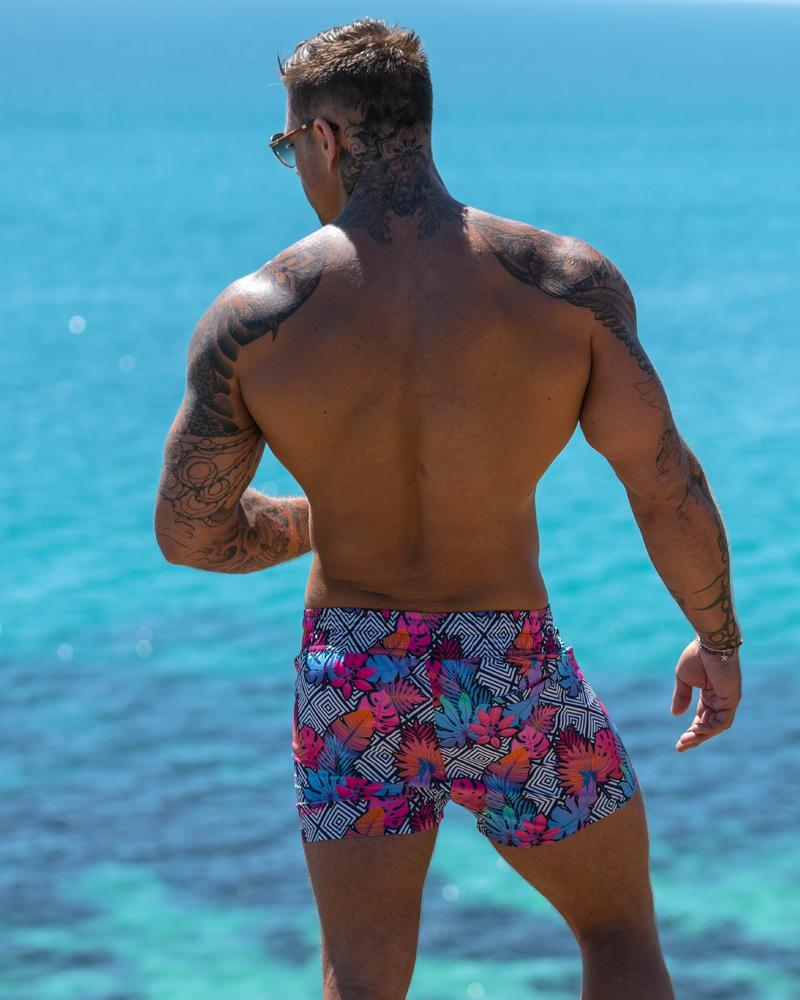 Flower Squared Black Swim Shorts Shorts / Board shorts Tucann