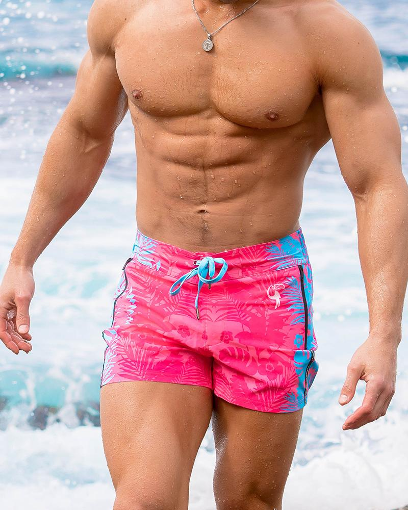 Flower Stripes Pink Swim Shorts Shorts / Board shorts Tucann