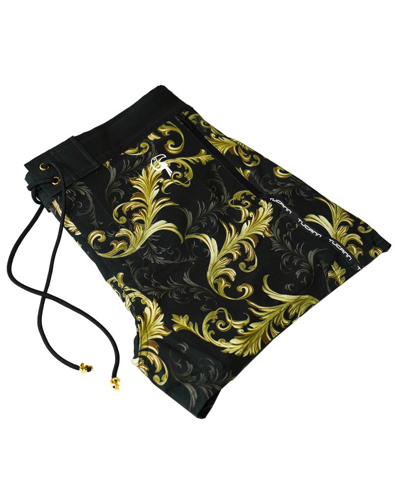 Gold Leaf Dark Green Swim Shorts Shorts / Board shorts Tucann