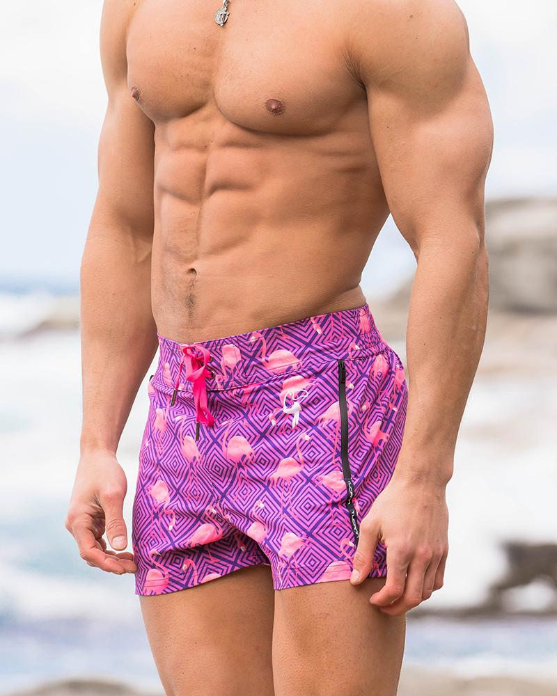 Pink and Purple Flamingo Swim Shorts Shorts / Board shorts Tucann