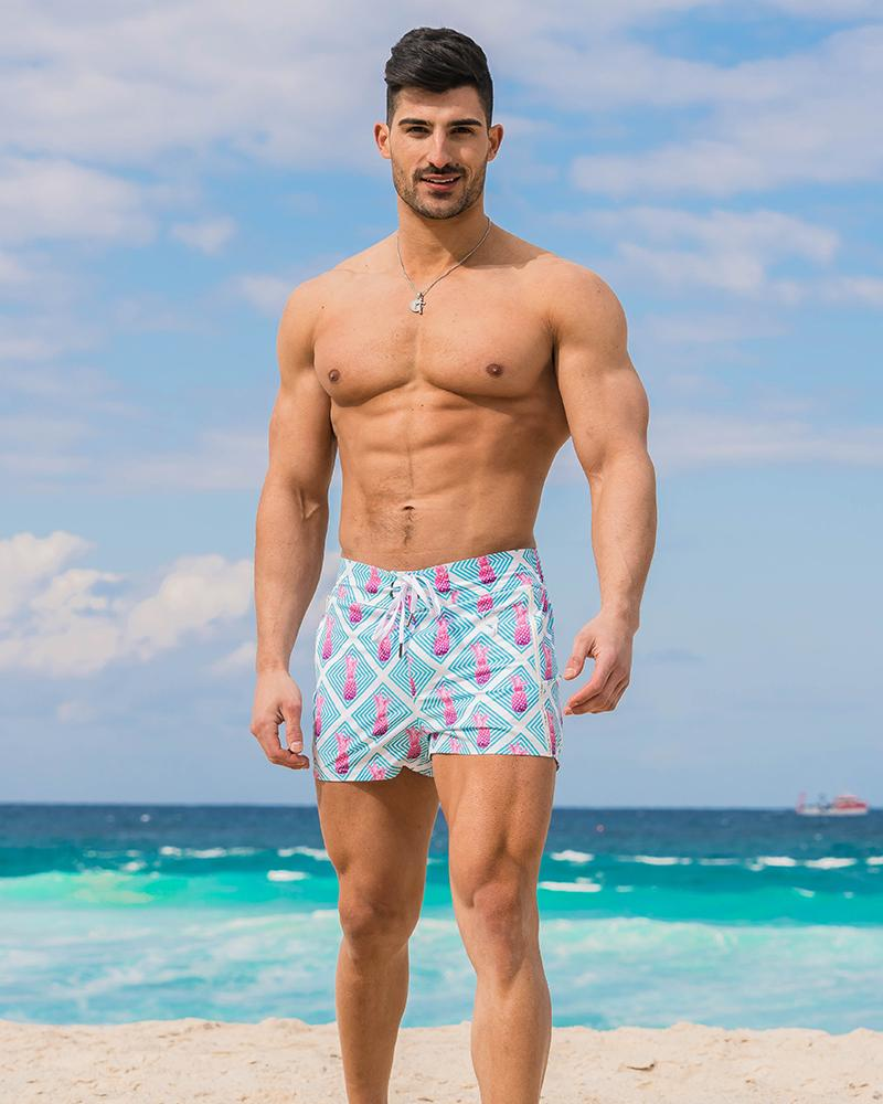 Pink Pineapple Blue Swim Shorts Shorts / Board shorts Tucann
