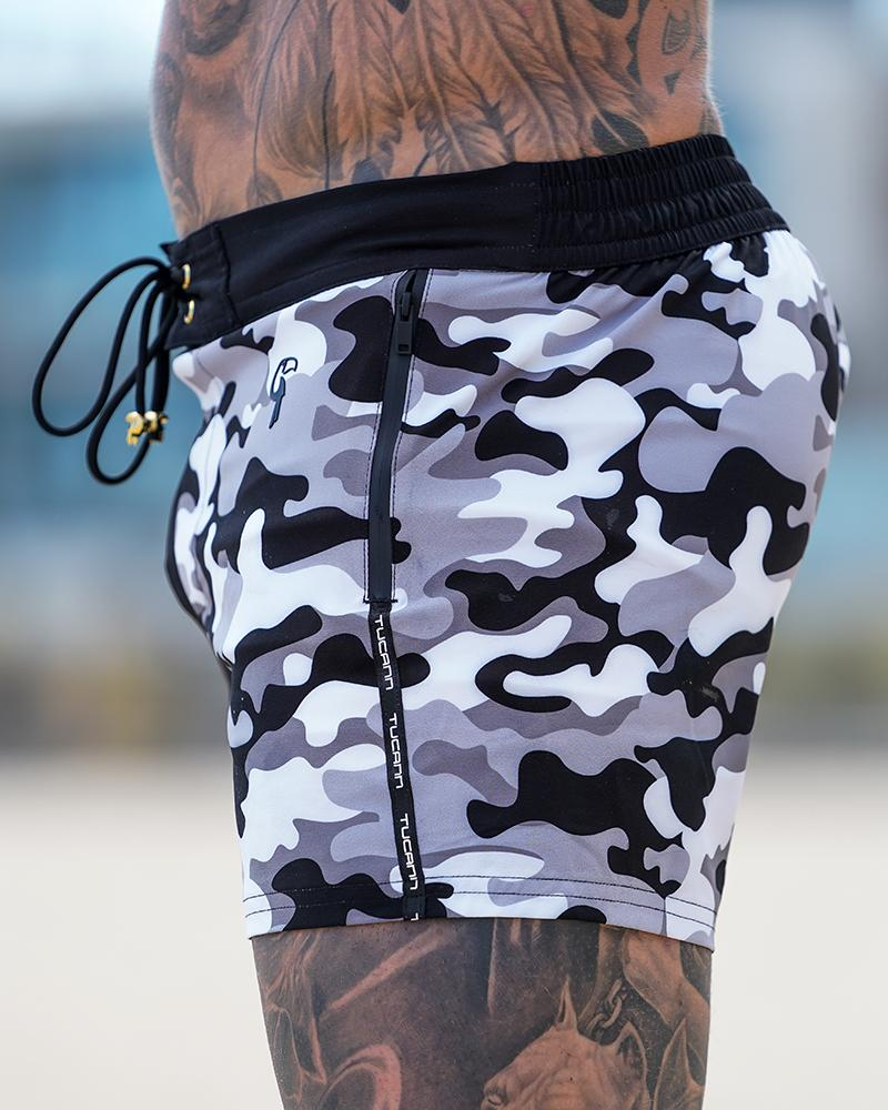 Split Camo Black Swim Shorts Shorts / Board shorts Tucann