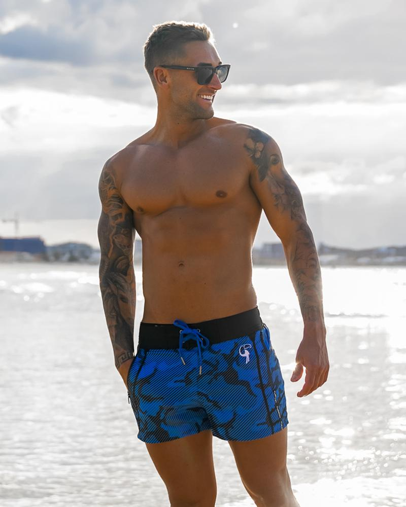 Striped Camo Blue Swim Shorts Shorts / Board shorts Tucann