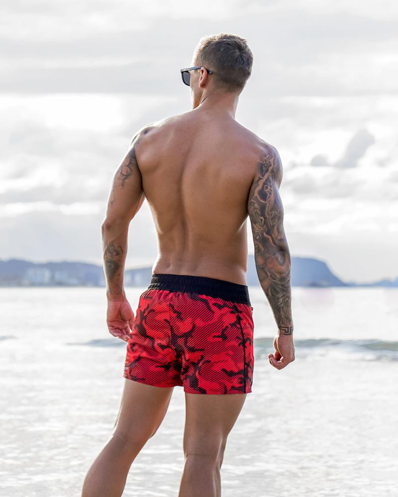 Striped Camo Red Swim Shorts Shorts / Board shorts Tucann