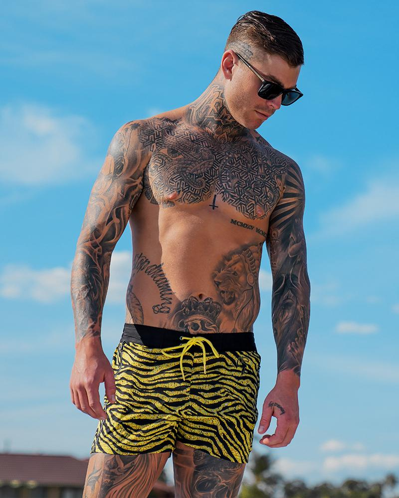Tiger II Gold Swim Shorts Shorts / Board shorts Tucann