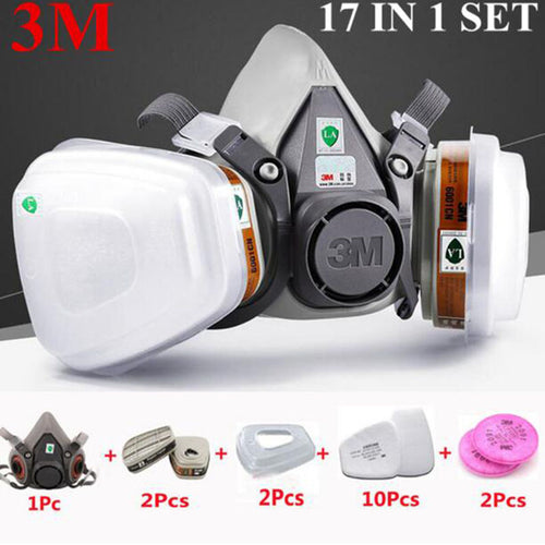 3M 6200 Half Face Painting Spraying Respirator Gas Mask 17 In 1 Suit