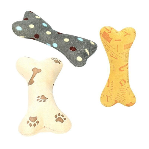 Pet Dog Squeak Toy Cartoon Bone Shaped Plush Chew Toy