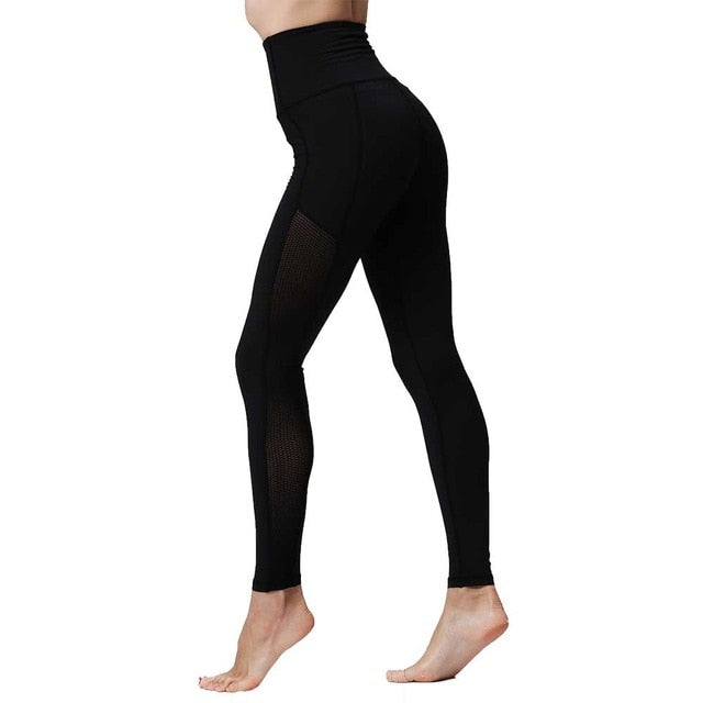 Black High Waist Solid Mesh Pants