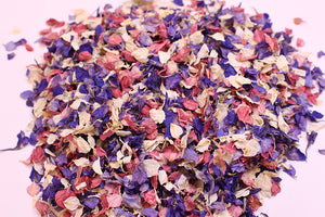 Bright Mix: Purple, Pink, Blue Natural Wedding Petal Confetti
