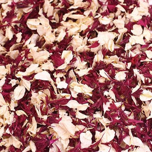 Burgundy and Ivory Flower Confetti grown in Britain. Biodegradable, eco-friendly, affordable & so pretty
