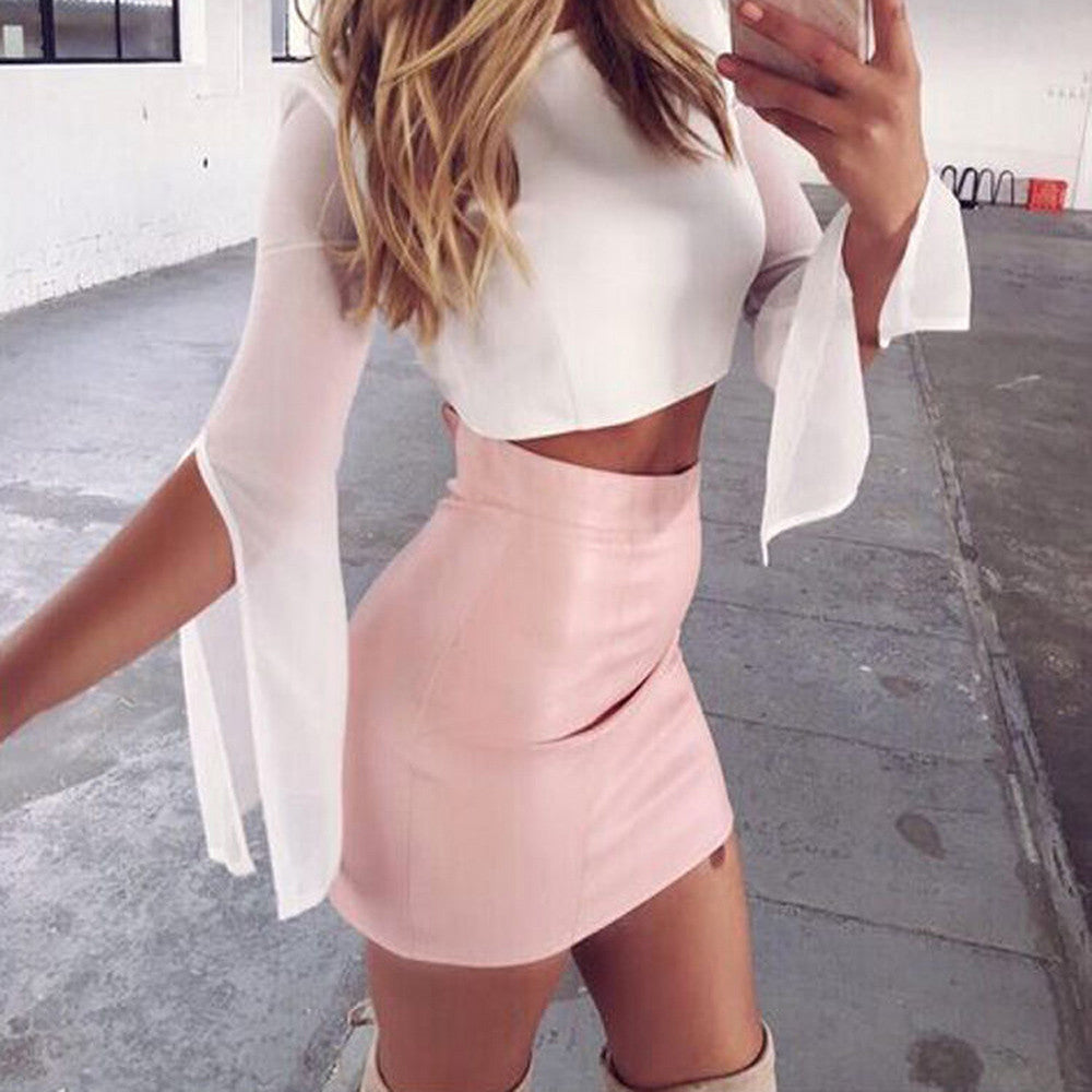 Bubblegum Leather Skirt
