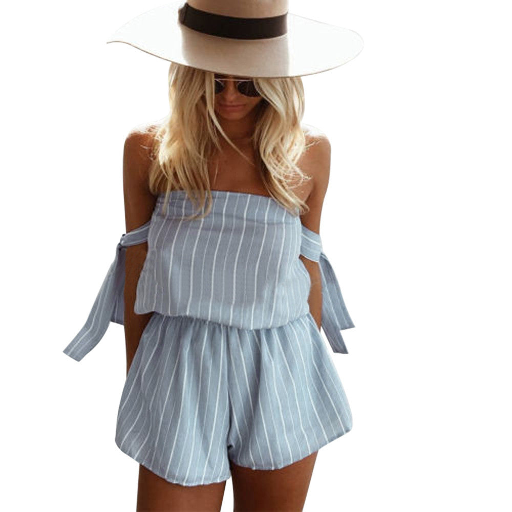 Take Me Out Striped Romper