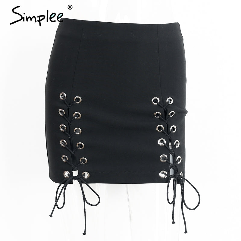 Not His Girl Black Lace Up Skirt